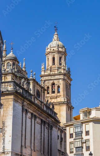 Tower of the historic cathedral in Jaen, Spain