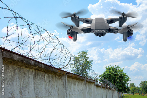 Canvas Print Security drone patrols the territory across the sky