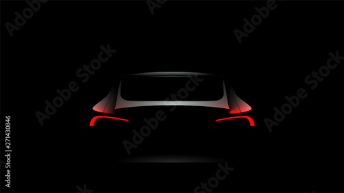 Stampa su Tela Back car silhouette with rear red lights on dark black background, wallpaper, banner template