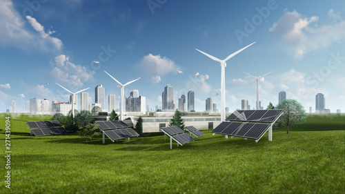 Photographie 3d Rendering Illustration Of Solar Cell And Windmill