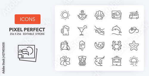 Obraz na plátne summer line icons 256 x 256
