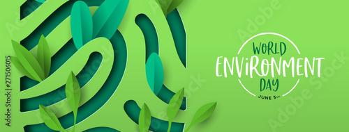 Canvas Print Environment Day banner of green cutout fingerprint