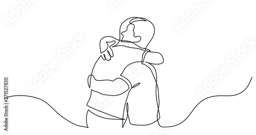 Wallpaper Mural continuous line drawing of men friends hugging each other