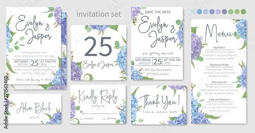 Fotografia, Obraz Set of wedding invitations, floral invitations, table, menu, thank you, rsvp card design