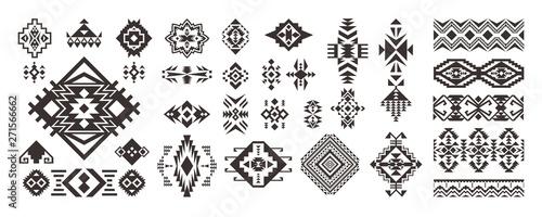 Fotografia Set of Tribal decorative elements isolated on white background