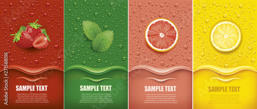 Stampa su Tela many fresh juice drops background with strawberry, mint, lemon, grapefrui