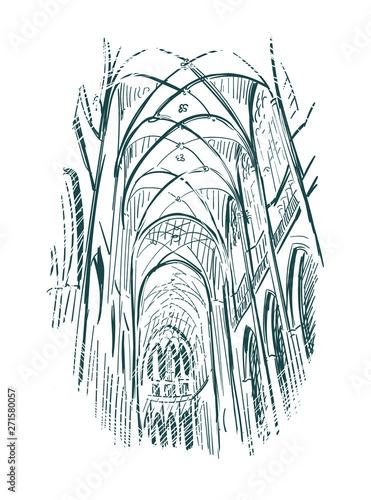 Fotografie, Obraz sketch vector illustration church indoor line art
