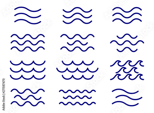 Fotografie, Obraz Set of thin line waves vector, collection