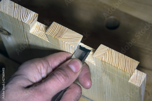 Obraz na plátne dovetail joinery, tenon and mortise, woodworking