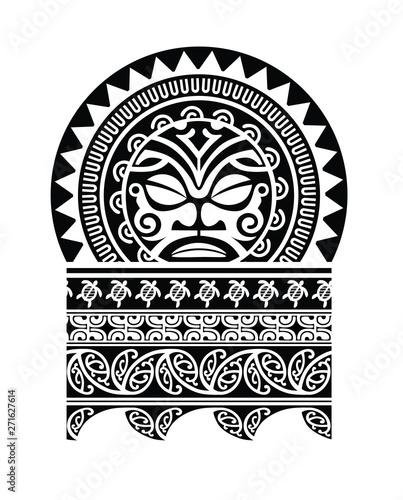 Wallpaper Mural Polynesian tattoo shape shoulder sleeve pattern vector, samoan template design,
