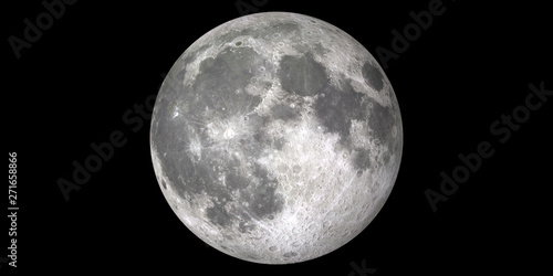 Moon Full black background Fototapet