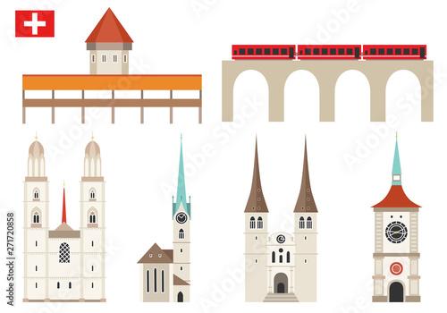Foto Set of Switzerland landmark icons in flat style