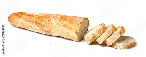 Fotografia French baguette sliced. Isolated on white background.