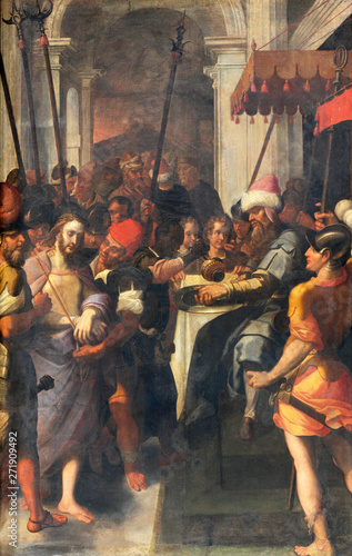 COMO, ITALY - MAY 10, 2015: The painting of Arrest of Jesus in Gethsemane garden in church Chiesa di San Agostino probably by Francesco Mazzucchelli - Morazzone from 16 Fototapeta