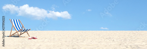 Beach vacation Concept with chair and blue sky Fototapeta
