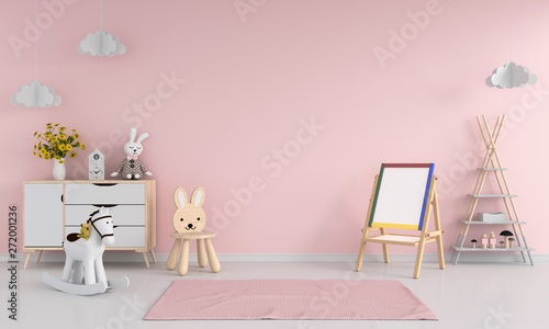 Tapete Drawing board and chair in pink child room interior for mockup, 3D rendering