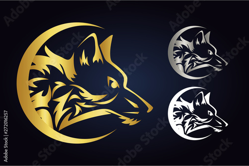 Vector wolf head silhouette inside half moon in gold, silver and white colors. Side view of wild animal in crescent. Wolf vector logo inside demilune isolated on dark background.