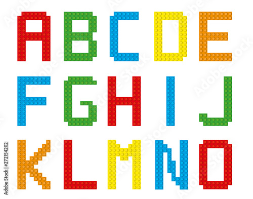 Fotografie, Obraz Bricks alphabet set / isolated letters A-O