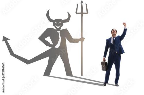 Obraz na plátně Devil hiding in the businessman - alter ego concept