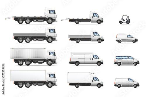Obraz na płótnie Vector illustrations set of commercial transportation trucks.