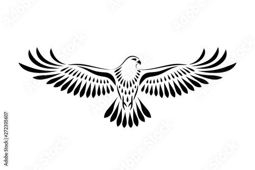 Valokuvatapetti Engraving of stylized hawk