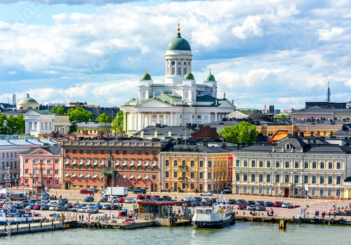 Wallpaper Mural Helsinki cityscape and Helsinki Cathedral, Finland