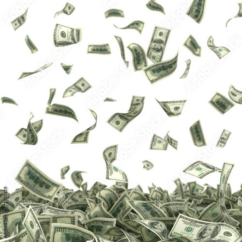 Canvas Print dollars bills falling on heap of money 3d illustration