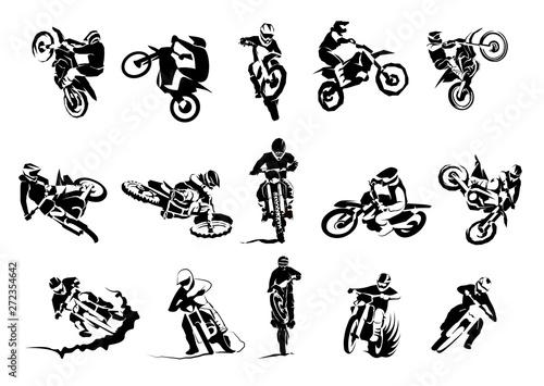 Wallpaper Mural Extreme bike big vector set 14x, motocross