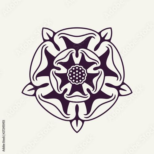Carta da parati Heraldic Rose Vector Monochrome Element