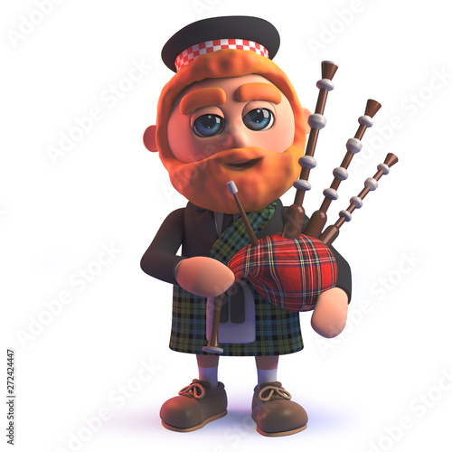 Canvas Print Cartoon 3d Scots man in kilt playing the Scottish bagpipes