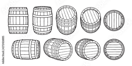Photo Set of wooden barrels in different positions