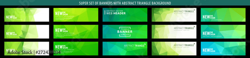 Set of abstract vector banner with triangle green background. Template for design