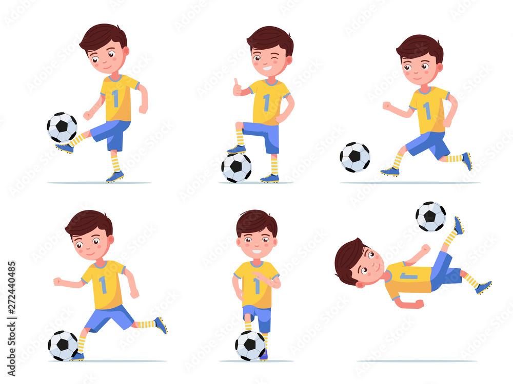 Set boy soccer player plays football <span>plik: #272440485 | autor: zhenyakot</span>