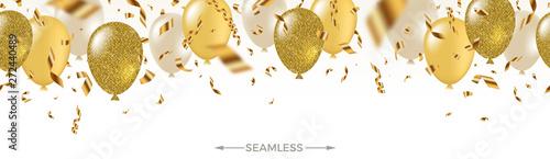 Fotografie, Obraz Celebratory seamless banner - white, yellow, glitter gold balloons and golden foil confetti