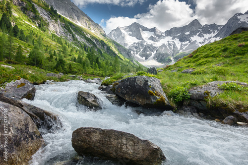 Cuadros en Lienzo Gletscherwasser in einer Almlandschaft in Österreich