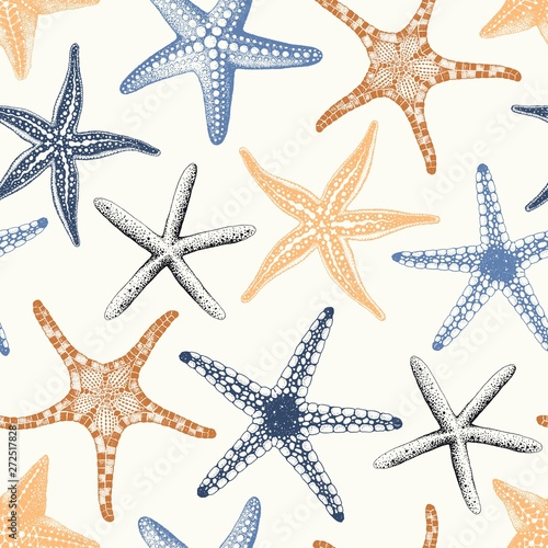 Fotografie, Obraz Hand drawn seamless pattern with various Starfishes pastel colors, vector illustration on beige background
