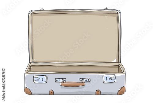 Stampa su Tela empty Suitcase vintagehand drawn art vector illustration