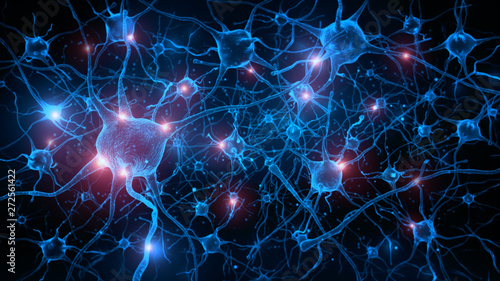Foto 3d rendering of neuron cells with glowing in human brain