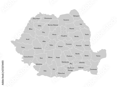 Canvas Print Vector isolated illustration of simplified administrative map of Romania