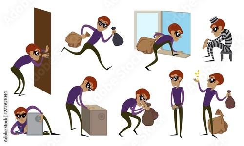 Fotografia Burglar icons set