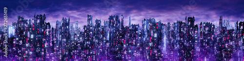 Carta da parati Science fiction neon city night panorama / 3D illustration of dark futuristic sc