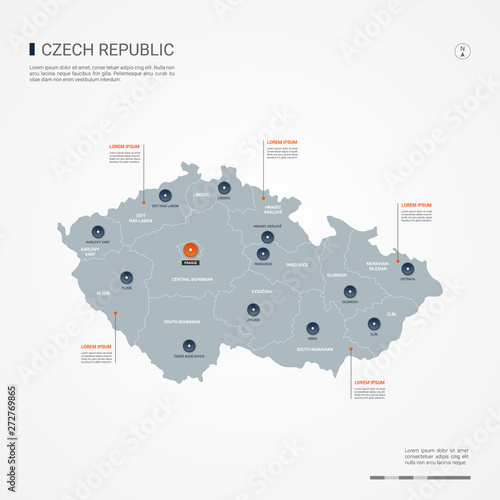 Canvas Print Czech Republic map with borders, cities, capital and administrative divisions