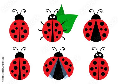 Obraz na płótnie Set of colored cute ladybug icons. Vector illustration