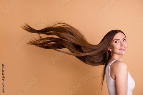 Valokuva Portrait of cute charming nice pretty teen teenager look hairstyle hair feel gla