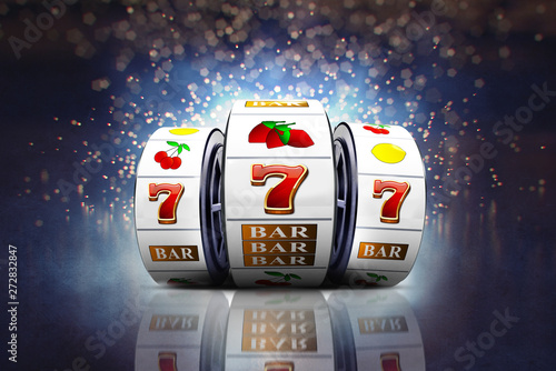 Fotografía Illustration, Slot machines with lucky Jackpot of online casino element isolation on colorful background