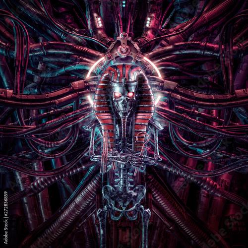 Leinwand Poster Curse of the neo pharaoh / 3D illustration of metallic futuristic zombie skeleto