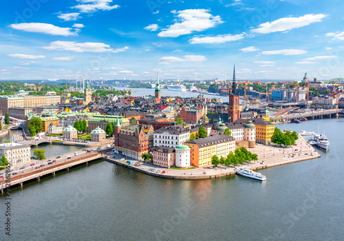 Canvas Print Stockholm old town (Gamla Stan) panorama from City Hall top, Sweden