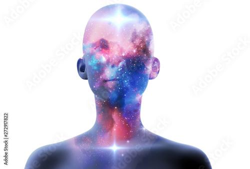 Canvastavla silhouette of virtual human with aura chakras on space nebula 3d illustration