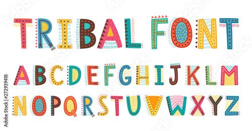 Tela Tribal cute alphabet font. Uppercase doodle Letters.