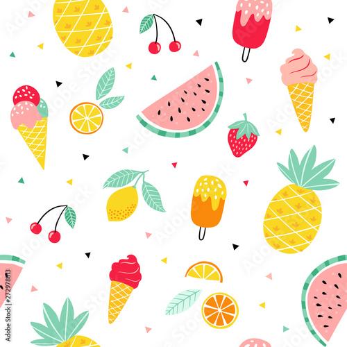 Fotografia, Obraz Summer fruit and ice cream pattern